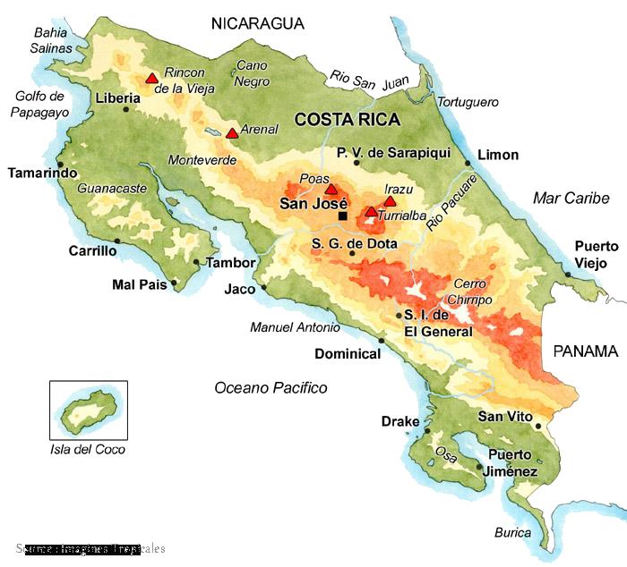 carte Volcans Costa Rica