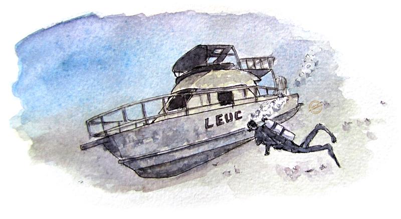 Aquarelle dessin de pongée épave à Panglao